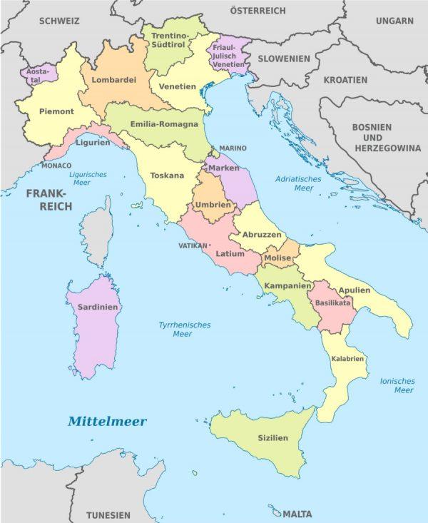 Regionen Italiens von Wiki Commons