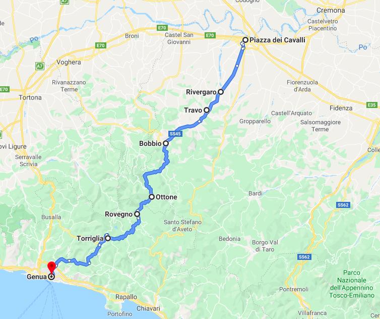 Karte Val Trebbia