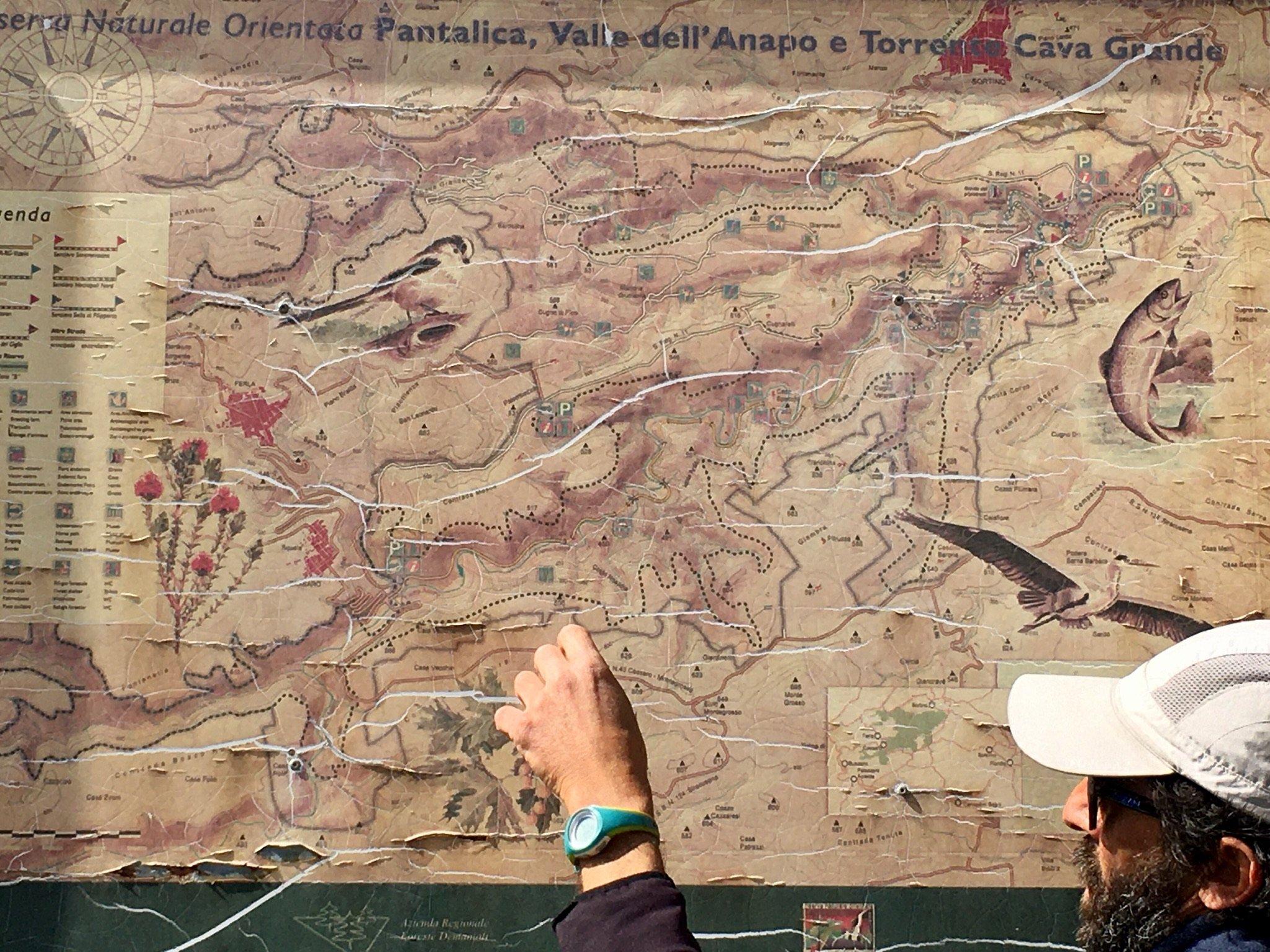 Karte des Pantalica und Anapo-Tals