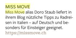 Reiseführer Baedeker Italien erwähnt Miss Move