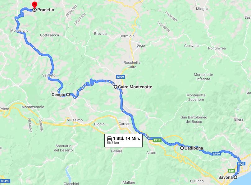 Karte von Ligurien ins Piemont